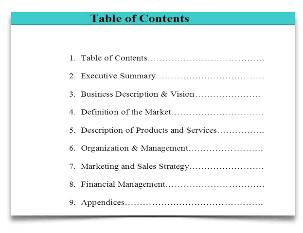 1 Table of Contents