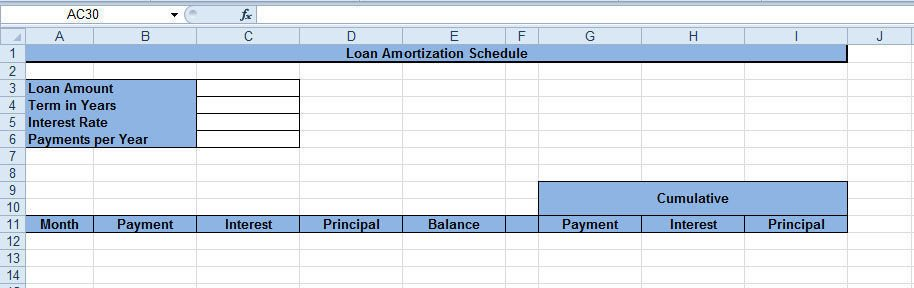 Creating amortization schedule interface
