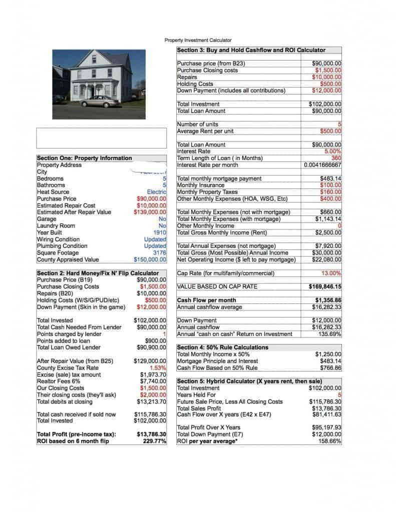 Investment Calculator Spreadsheet PDF for 1012 W Marion St Aberdeen 2