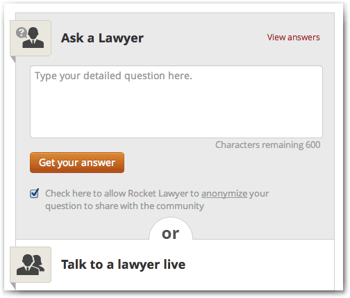 RocketLawyer Quick Question Review