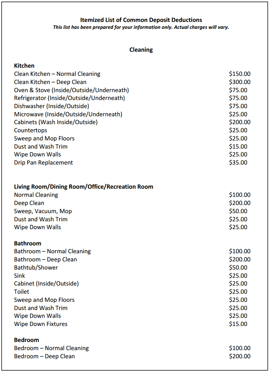 The Landlord's Itemized List of Common Tenant Deposit