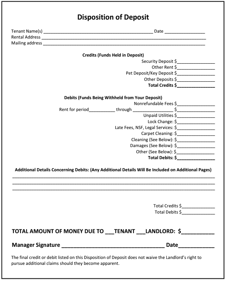 How To Use The Disposition Of Deposit As A Landlord With Sample Form