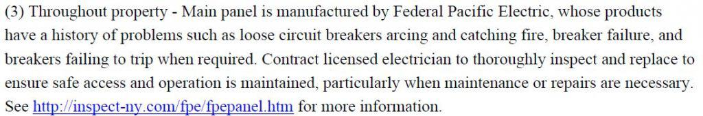 inspection details commenting on electrical panels where circuit breakers are known to catch fire or fail to trip
