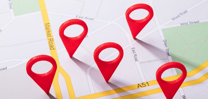 map with red location markers