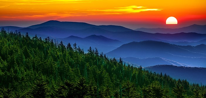 gorgeous mountain silhouette during sunset